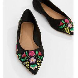 ASOS DESIGN Lantana Wide Fit Embroidered Pointed Ballet Flats - Black